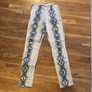 Pants - Skinny, beige with grey snake skin print, stretchy